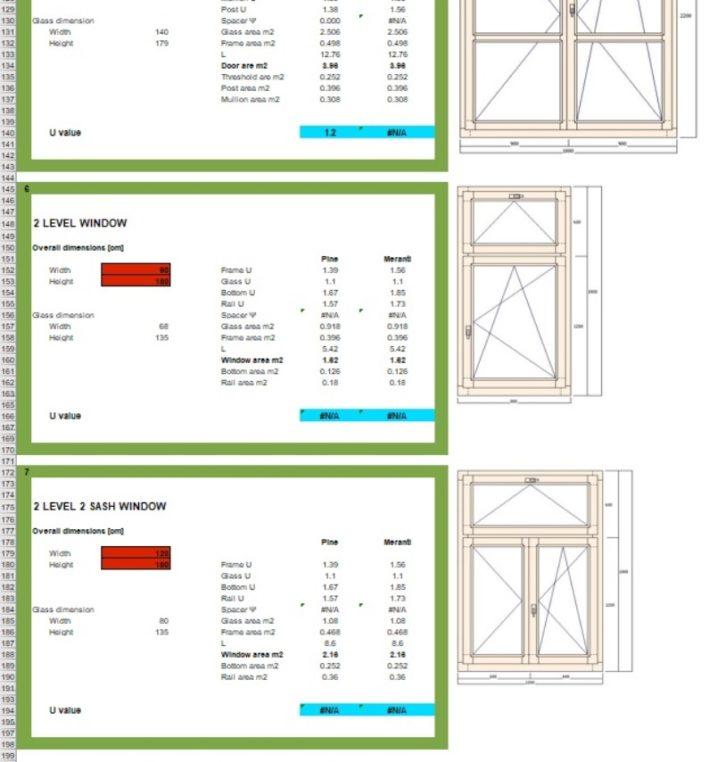 窓デザイン毎に断熱計算