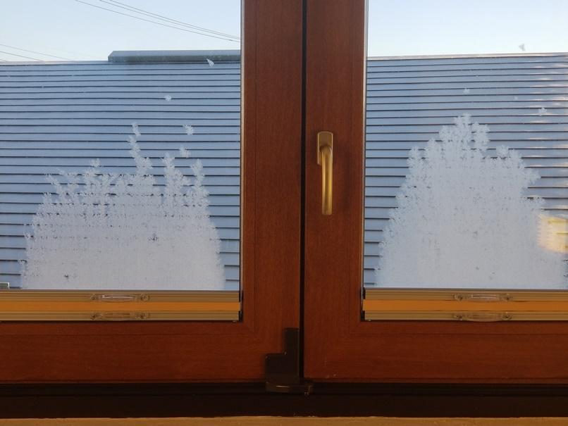 岩手で住宅の窓ガラスに霧氷 (1)