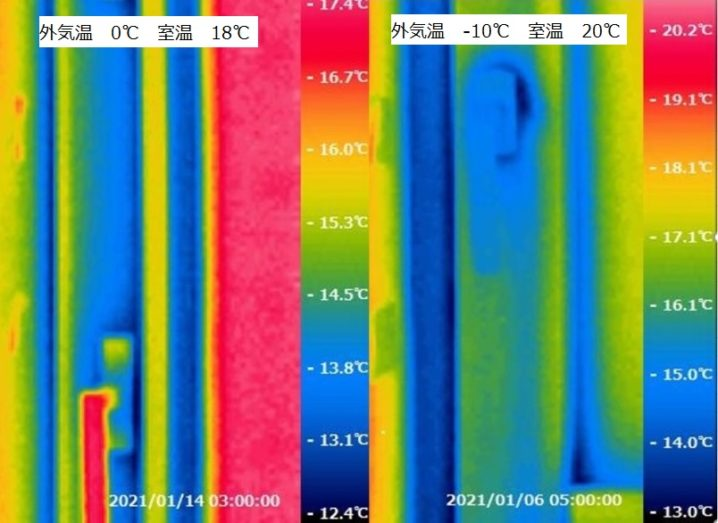岩手の高断熱住宅の冬の窓温度比較