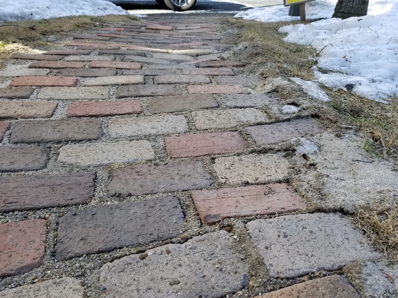 歩道(レンガ)の凍み上がり (2)